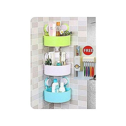 3 Bathroom Shelf, Tissue Holder & Free Toothpaste Dispenser