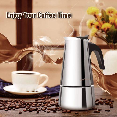 200ml Godmorn 4 Cups Stainless Steel Moka Coffee Pot