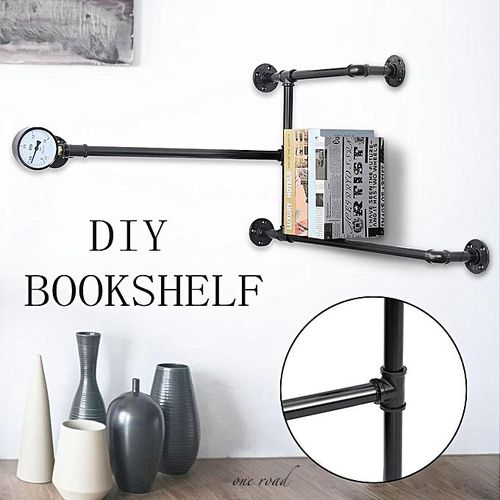Rehabilitation Industrial Pipe Shelf Storage Shelf Book Wall Floating Shelf