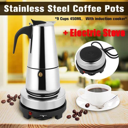 9 Cups 450ml Stainless Steel Moka Coffee Maker Pot Percolator + Electric Stove