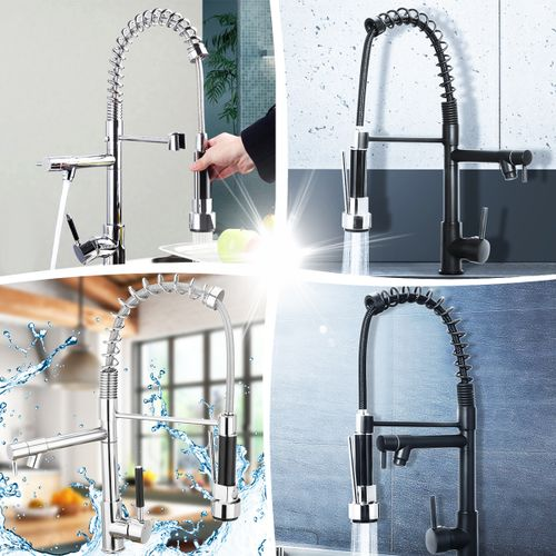 TAPCET Modern Pull Out Mixer Tap Monobloc Chrome Brass Kitchen Spray Faucet