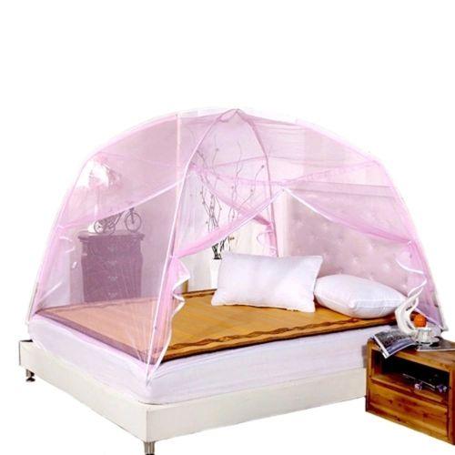 Summer Bi-parting Folding Mesh Insect Bed Mongolian Yurt Mosquito Net Pink