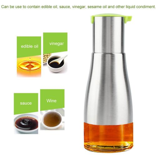 320ml Portable Stainless Steel Glass Oil Bottle Kitchen Vinegar Sauce Dispenser Container