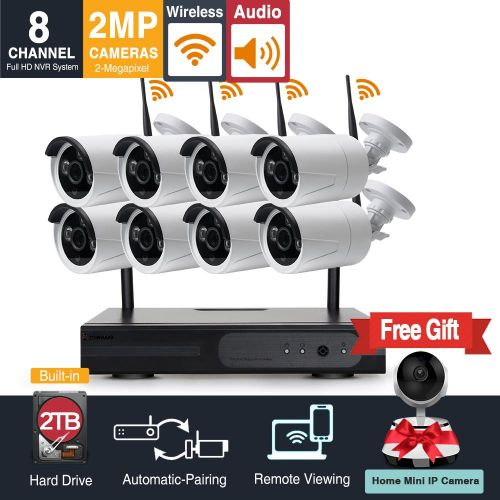 Audio And Video 8 Channel 1080p HD Wireless Security Camera System With 2TB Hard Drive And 8 Infrared Outdoor 2.0Megapixel WiFi IP Cameras, Auto-Pair, NVR Built-in Router,Remote Access TXMALL