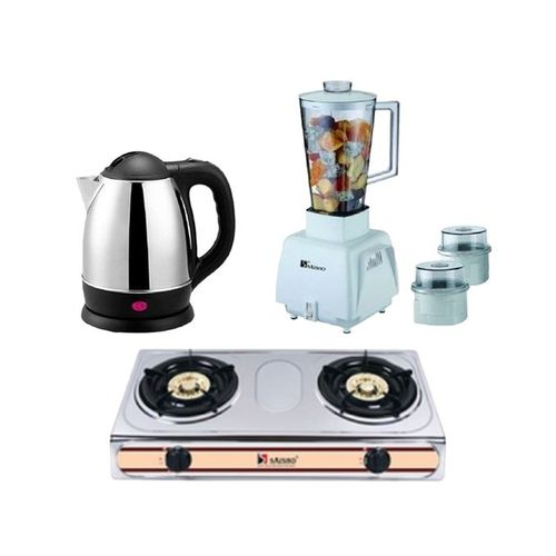 Electric Jug (S-402SS) + Double Burner Gas Stove + 3-in-1 Blender