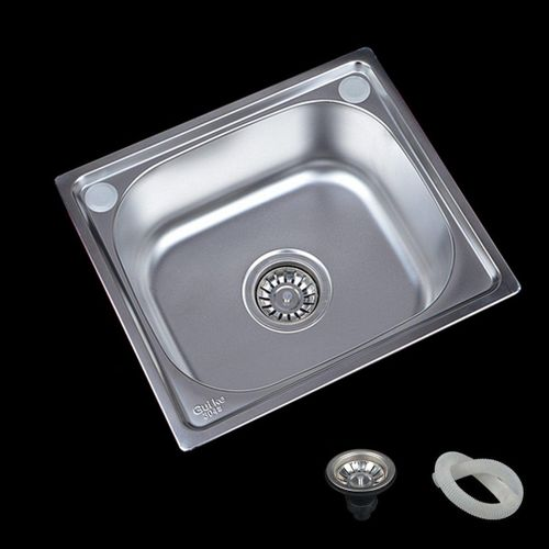 Stainless Steel Inset Kitchen Sink Laundry Catering Topmount Square Single Bowl