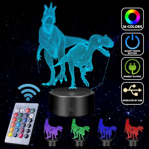 3D Dinosaur LED Night Light Touch Remote Table Desk Illusion Lamp For Kids Gifts