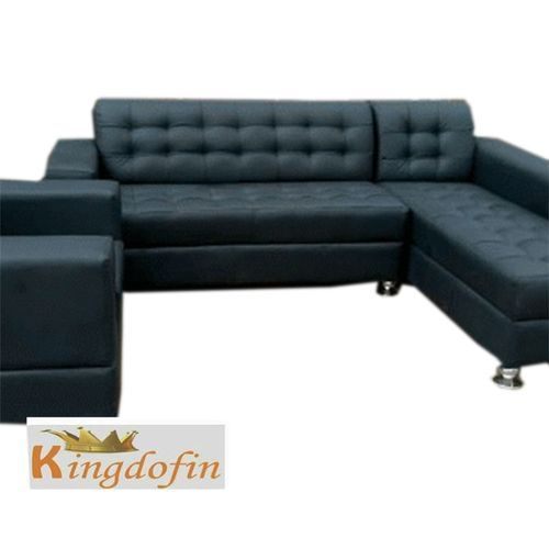 7 Seater L Shaped Leather Black Sofa Furnitures