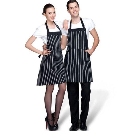Watermalend Adjustable Black Stripe Bib Apron With 2 Pockets Chef Kitchen Cook Tool BK