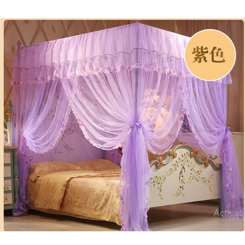 Mosquito Net Bed Canopy-Lace Luxury 4 Corner Style