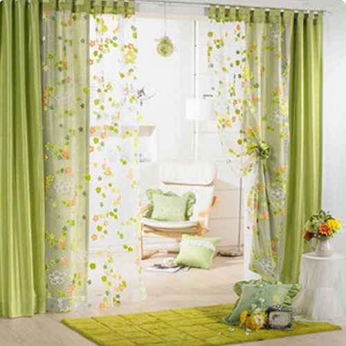 Colorful Flowers Window Curtain Bedroom Living Room Drape Tulle Voile Balcony Sheer Organdy Material Curtain Floral Pattern