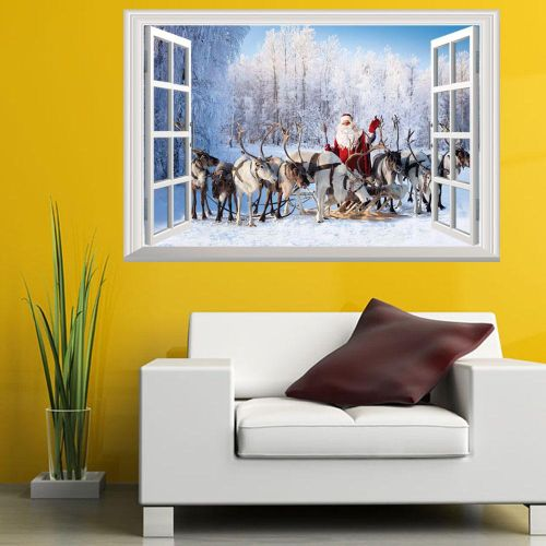 Christmas Santa Claus Gift Can Removed Wall Stickers