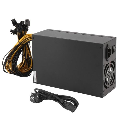 1800W Server PSU 6PIN Mining Machine Power Supply For Antminer S7 S9 A6 A7 L3 Black