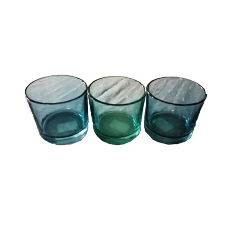 3 Blue Tinted Glass Cups