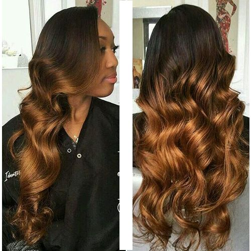 Ombre Bouncy Romance Curl Hair - Dark Gold + Free Gift