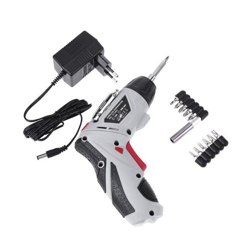 Multifunction 4.8V Cordless Electric Screwdriver Chargeable EU Plug Hand Drill Gray