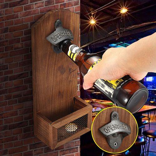 Wood Rustic Beer Barrel Keg Wall Mounted Bottle Caps Opener With Cap Catcher