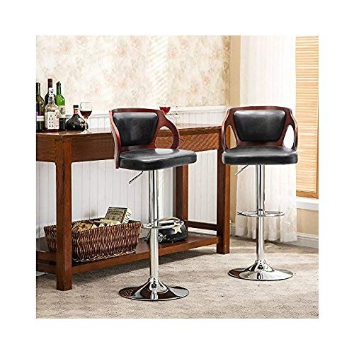 Wooden Bar Stool With Padded Pu Leather- Set Of 2