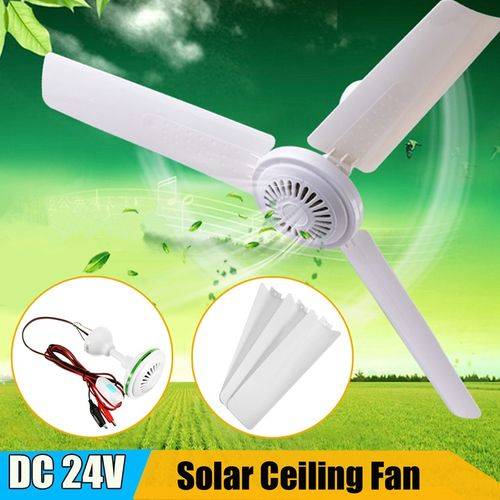 Warmtoo 1Pcs DC 24v 6W Solar Ceiling Fan With Switch 3 Blade Caravan Camp ABS Hanging Fan For Office Home Portable Outdoor Fan