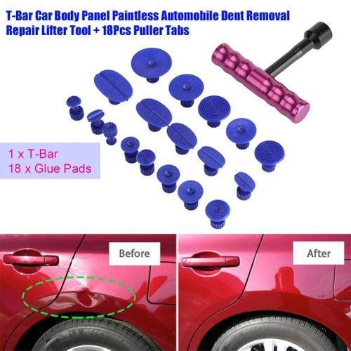 T-Bar Car Body Panel Paintless Automobile Dent Removal Repair Lifter Tool + 18Pcs Puller Tabs - Intl
