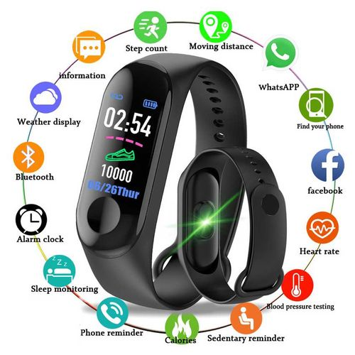 Sports Fitness Watch Activity Tracker Smart Wristband-Black