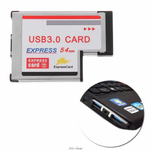 2 Dual Port USB 3.0 HUB Express Card 54mm Hidden Adapter With CD For Laptop