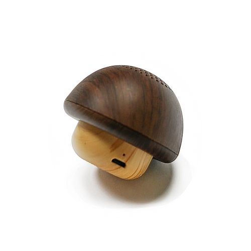 Wood Texture Wireless Bluetooth Speaker Mini Mushroom Speaker Lovely Bluetooth Audio PC-1 Portable Mini Speaker-BROWN