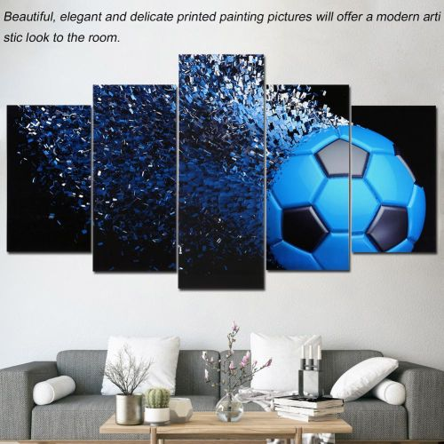 Black And Blue Football Canvas Painting 5 Panels Printed Picture Home Office Bedroom Decor(S)