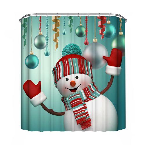 Hiamok_Dtrestocy Christmas Waterproof Polyester Bathroom Shower Curtain Decor With Hooks New B