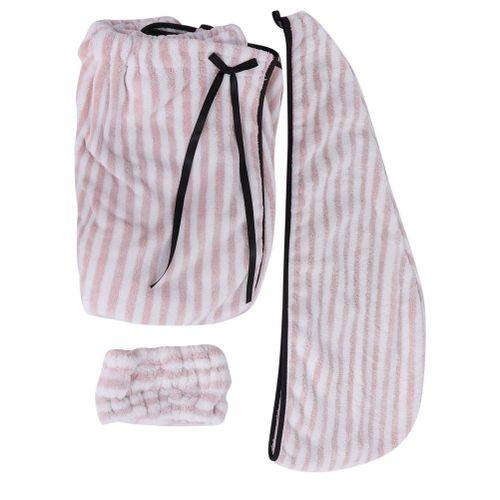 Variety Of Clean Bath Skirt Tube Top Bath Towel Hair Band Dry Hair Cap Three-piece Suit Blue Dusty Pink