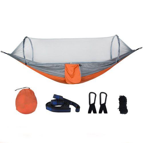 Automatic Speed Open Mosquito Net Hammock Outdoor Camping Orange Grey