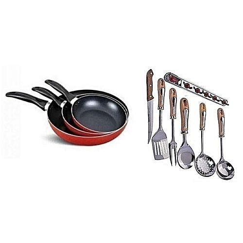 3 Pieces Non-stick Frying Pan And Kitchen Spoon Set