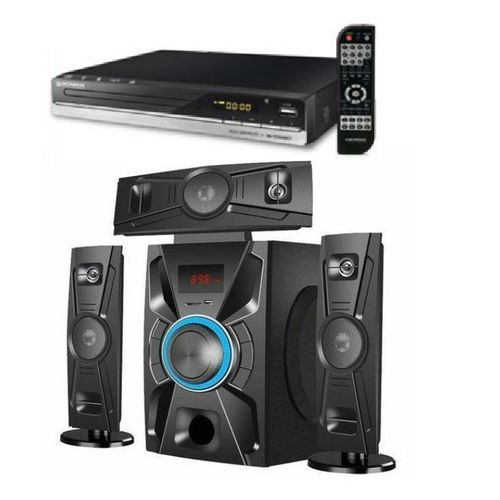 HOME THEATRE SYSTEM AND DVD PLAYER ATTACHED