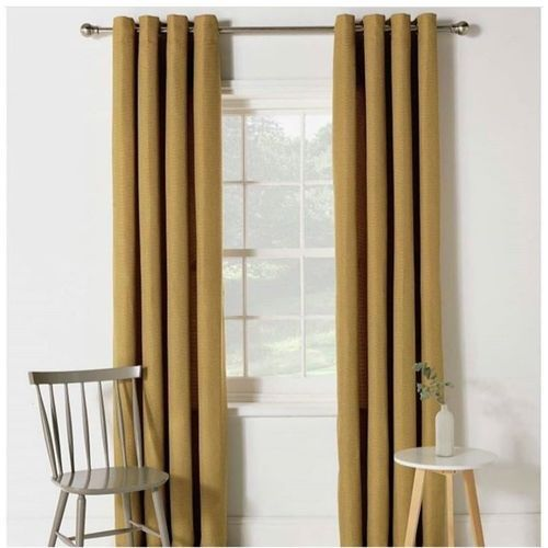 American-7.5ft By 7.5ft Plain Champagne Gold Curtain +Rings