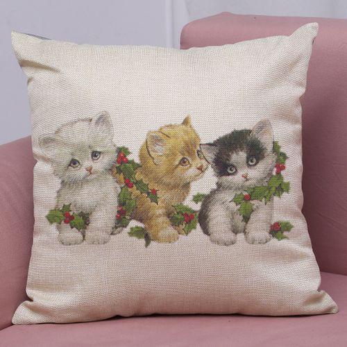 Dtrestocy New Christmas Cotton Linen Pillow Case Sofa Cushion Cover Home Decor