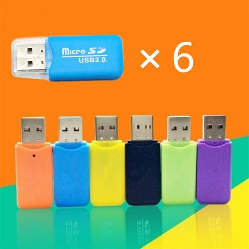 6Pcs TF Card Memory Card Micro SD Card Reader USB 2.0 Support 64GB