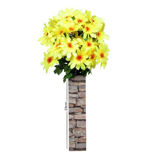 Wooden Brick Design Standing Vase With Flowers