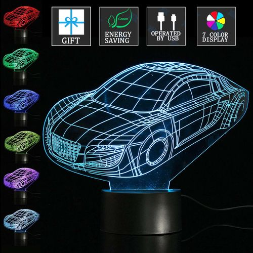 3D Supercar 7Color LED Night Light Illusion Table Lamp Room Decor Valentine Gift