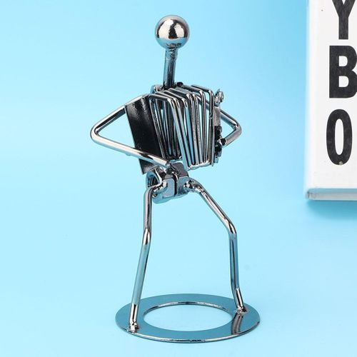 Metal Musician Accordion Player Figure Musical Instrument Sculpture Statue Cafe Office Decor Iron Crafts Birthday Gifts