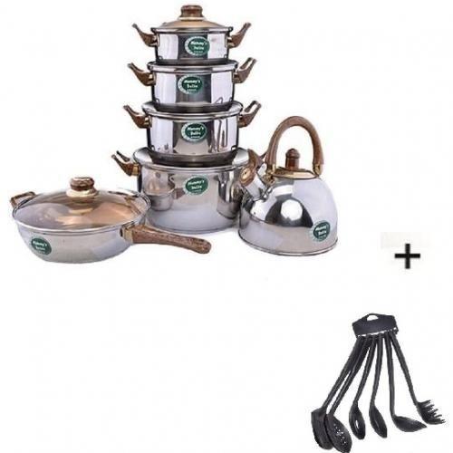 Set Of 6 Pots + Set Of 6 Pieces Non-Stick Cooking Spoons