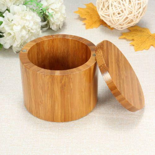 Natural Bamboo Round Salt Box Jar Modern Kitchen Storage Case With Magnet Lid