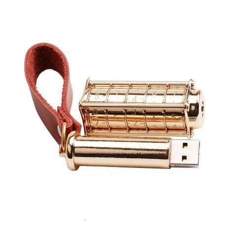 Password Lock Design Portable Size USB 2.0 Flash Drives Memory Stick U Disk Gold