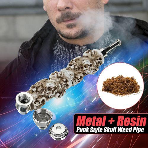 "15cm 5.9"" Smoking Pipe Metal Resin Tobacco Herb Pipe Skull Shape Silver Screen"