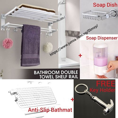 Kitchen Bathroom Towel Hanger With Rail Shelf Rack