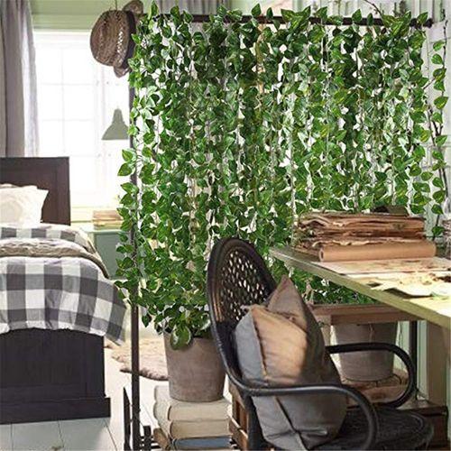 12 Pcs Artificial Hanging Plant Ivy Vine Garland Green Leaves Plants Leaf Decor