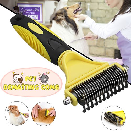 Double Side Pet Fur Brush Comb Dog Cat Grooming Tool 12/23 Blade Stainless Steel
