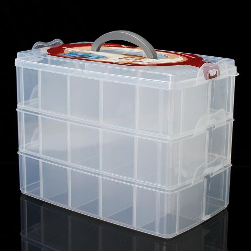 Compartment Box Clear Plastic Storage Organiser Tool Case Jewellery Craft Beads X-Large