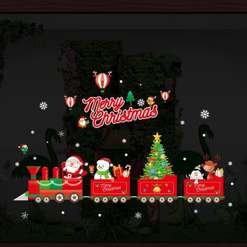 New Year Christmas Mirror Sticker Glass Window Stickers Santa Claus Elements Christmas Ornaments Decoration Home Decor
