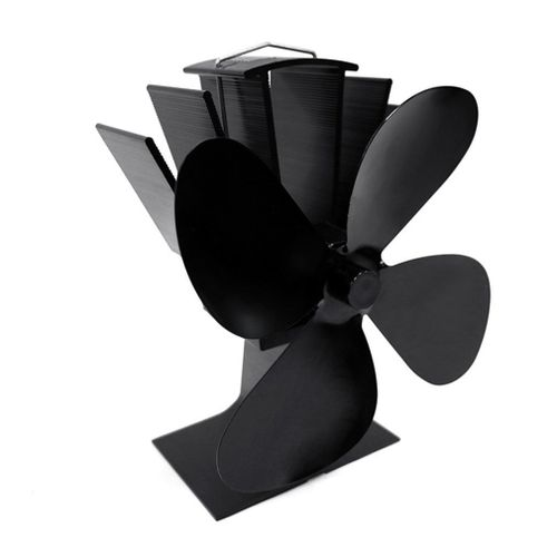 OR 505 Blades Heat Powered Stove Fan Silent Fireplace Black