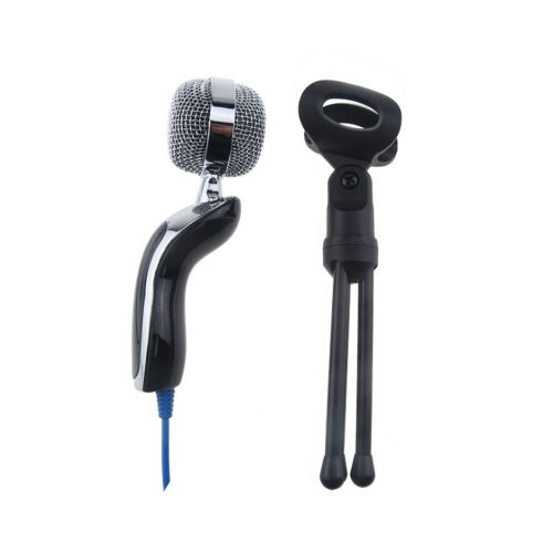 Hot Condenser Sound Recording Microphone Mic Stand For PC Laptop-Black